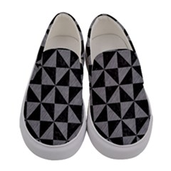 Triangle1 Black Marble & Gray Colored Pencil Women s Canvas Slip Ons