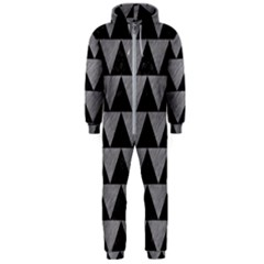 Triangle2 Black Marble & Gray Colored Pencil Hooded Jumpsuit (men)