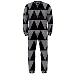Triangle2 Black Marble & Gray Colored Pencil Onepiece Jumpsuit (men)