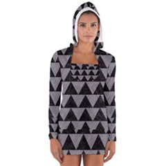 Triangle2 Black Marble & Gray Colored Pencil Long Sleeve Hooded T Shirt