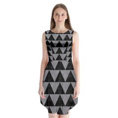 Triangle2 Black Marble & Gray Colored Pencil Sleeveless Chiffon Dress