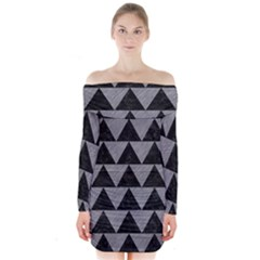 Triangle2 Black Marble & Gray Colored Pencil Long Sleeve Off Shoulder Dress