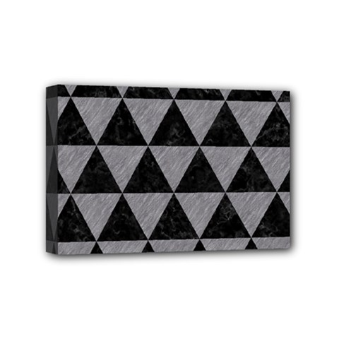 Triangle3 Black Marble & Gray Colored Pencil Mini Canvas 6  X 4