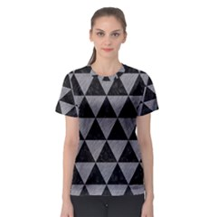 Triangle3 Black Marble & Gray Colored Pencil Women s Sport Mesh Tee
