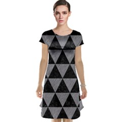 Triangle3 Black Marble & Gray Colored Pencil Cap Sleeve Nightdress