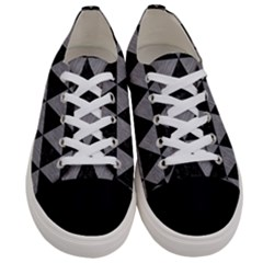 Triangle3 Black Marble & Gray Colored Pencil Women s Low Top Canvas Sneakers