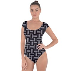 Woven1 Black Marble & Gray Colored Pencil Short Sleeve Leotard