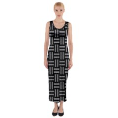 Woven1 Black Marble & Gray Colored Pencil Fitted Maxi Dress