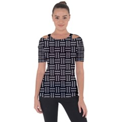 Woven1 Black Marble & Gray Colored Pencil Short Sleeve Top
