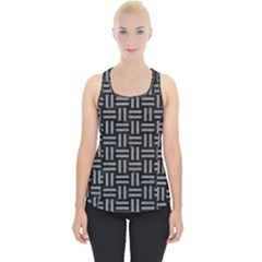 Woven1 Black Marble & Gray Colored Pencil Piece Up Tank Top