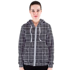 Woven1 Black Marble & Gray Colored Pencil (r) Women s Zipper Hoodie
