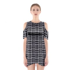 Woven1 Black Marble & Gray Colored Pencil (r) Shoulder Cutout One Piece