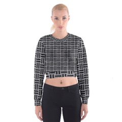 Woven1 Black Marble & Gray Colored Pencil (r) Cropped Sweatshirt