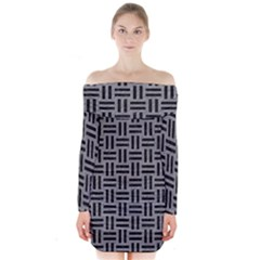 Woven1 Black Marble & Gray Colored Pencil (r) Long Sleeve Off Shoulder Dress