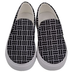 Woven1 Black Marble & Gray Colored Pencil (r) Men s Canvas Slip Ons