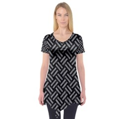 Woven2 Black Marble & Gray Colored Pencil Short Sleeve Tunic
