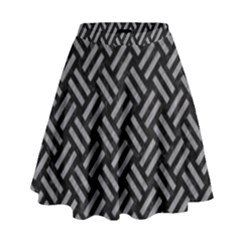 Woven2 Black Marble & Gray Colored Pencil High Waist Skirt