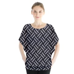Woven2 Black Marble & Gray Colored Pencil Blouse