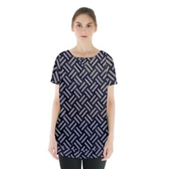 Woven2 Black Marble & Gray Colored Pencil Skirt Hem Sports Top