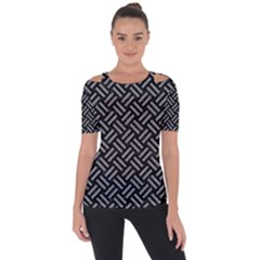 Woven2 Black Marble & Gray Colored Pencil Short Sleeve Top