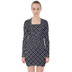 Woven2 Black Marble & Gray Colored Pencil V Neck Bodycon Long Sleeve Dress