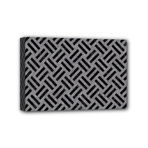 Woven2 Black Marble & Gray Colored Pencil (r) Mini Canvas 6  X 4