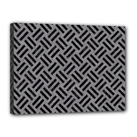 Woven2 Black Marble & Gray Colored Pencil (r) Canvas 16  X 12