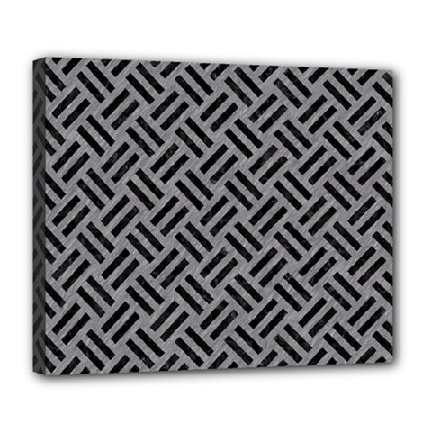 Woven2 Black Marble & Gray Colored Pencil (r) Deluxe Canvas 24  X 20