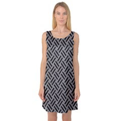 Woven2 Black Marble & Gray Colored Pencil (r) Sleeveless Satin Nightdress