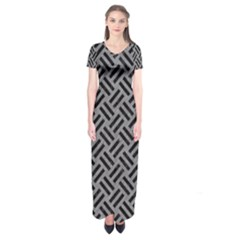 Woven2 Black Marble & Gray Colored Pencil (r) Short Sleeve Maxi Dress