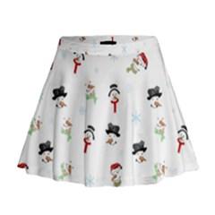 Snowman Pattern Mini Flare Skirt