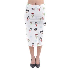 Snowman Pattern Midi Pencil Skirt