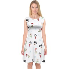 Snowman Pattern Capsleeve Midi Dress