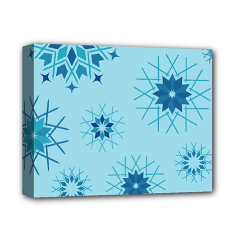 Blue Winter Snowflakes Star Deluxe Canvas 14  X 11