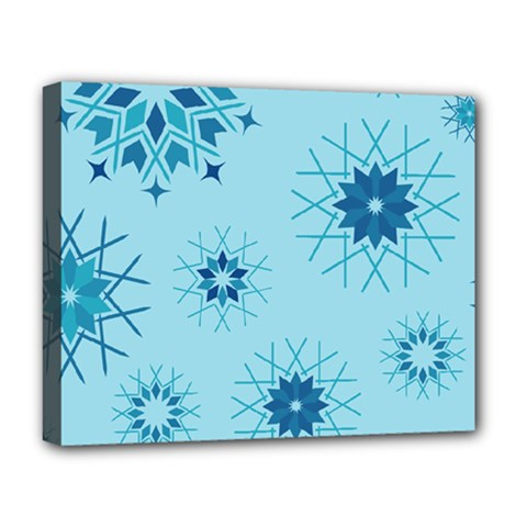 Blue Winter Snowflakes Star Deluxe Canvas 20  X 16