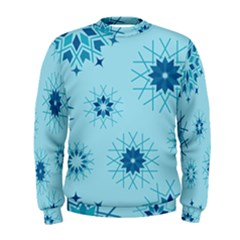 Blue Winter Snowflakes Star Men s Sweatshirt