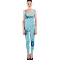 Blue Winter Snowflakes Star Onepiece Catsuit