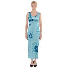 Blue Winter Snowflakes Star Fitted Maxi Dress
