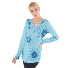 Blue Winter Snowflakes Star Tie Up Tee