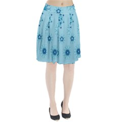 Blue Winter Snowflakes Star Pleated Skirt