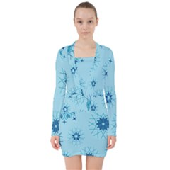 Blue Winter Snowflakes Star V Neck Bodycon Long Sleeve Dress