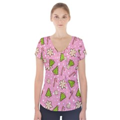Ginger Cookies Christmas Pattern Short Sleeve Front Detail Top