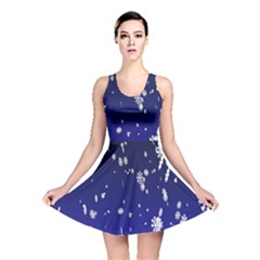 Blue Sky Christmas Snowflake Reversible Skater Dress