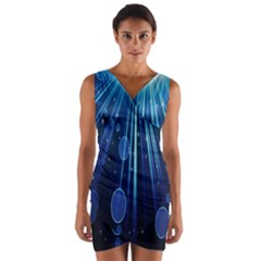 Blue Rays Light Stars Space Wrap Front Bodycon Dress