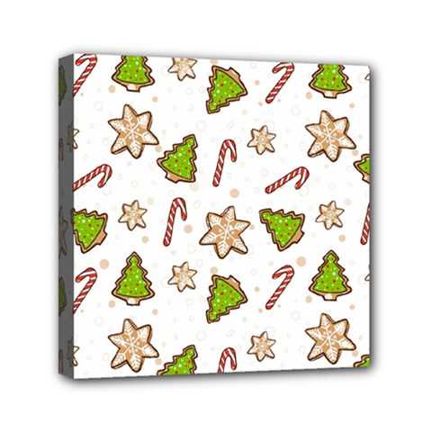 Ginger Cookies Christmas Pattern Mini Canvas 6  X 6