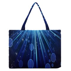 Blue Rays Light Stars Space Zipper Medium Tote Bag