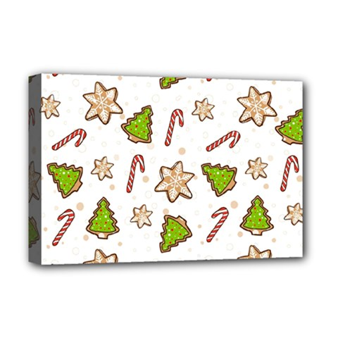 Ginger Cookies Christmas Pattern Deluxe Canvas 18  X 12