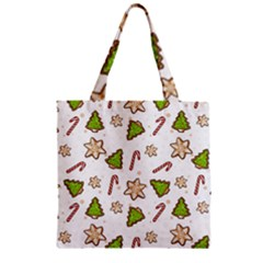 Ginger Cookies Christmas Pattern Zipper Grocery Tote Bag