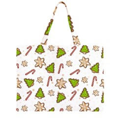 Ginger Cookies Christmas Pattern Zipper Large Tote Bag