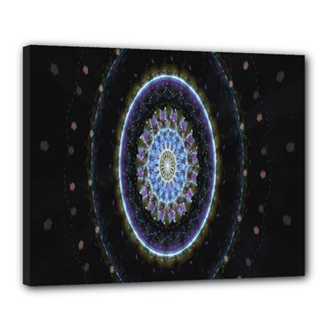 Colorful Hypnotic Circular Rings Space Canvas 20  X 16